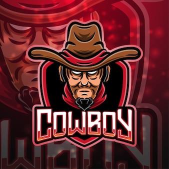 Diseño de logotipo de mascota de deporte de vaquero