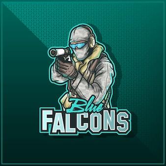 Diseño de logotipo de mascota deportiva editable y personalizable, esports twitch logo ejército soldado militar
