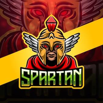 Diseño de logotipo de mascota deportiva espartana