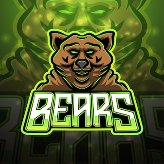 Diseño de logotipo de mascota deportiva de osos