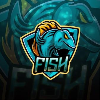 Diseño de logotipo de mascota deportiva de pescado
