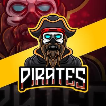 Diseño de logotipo de mascota deportiva piratas