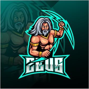 Diseño de logotipo de mascota deportiva zeus