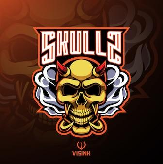 Diseño del logotipo de la mascota del diablo del cráneo