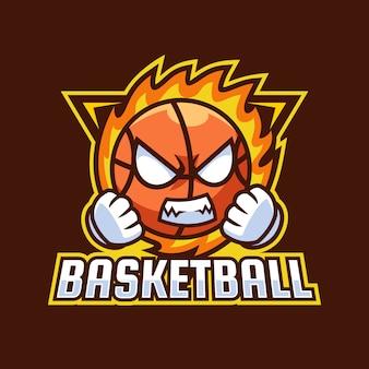 Diseño de logotipo de mascota de dibujos animados de baloncesto enojado