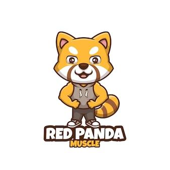 Diseño de logotipo de mascota de dibujos animados de creative red panda muscle fitness
