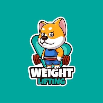 Diseño de logotipo de mascota de dibujos animados creativos de levantamiento de pesas shiba inu