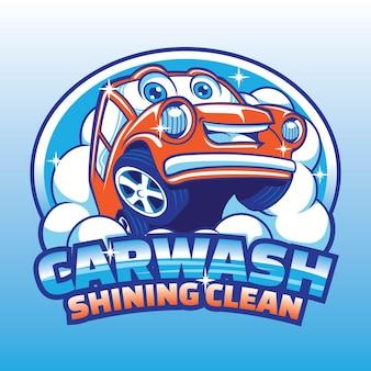 Diseño de logotipo de mascota de dibujos animados de lavado de autos