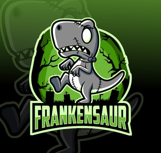 Diseño de logotipo de la mascota dinosaurio frankenstein con estilo de deporte