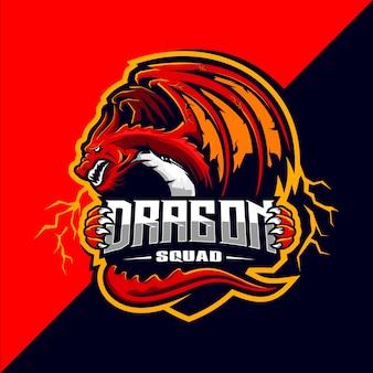 Diseño de logotipo de la mascota de dragon squad esport