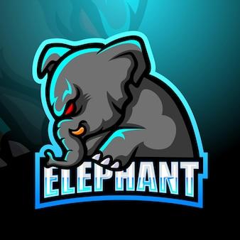 Diseño de logotipo de mascota elefante
