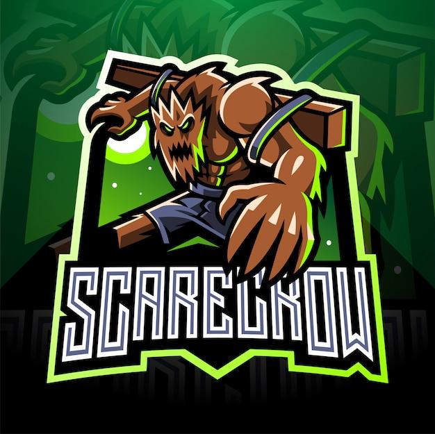 Diseño de logotipo de mascota de espantapájaros espantapájaros