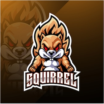 Diseño de logotipo de mascota de esport ardilla