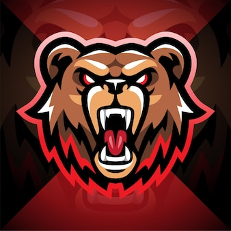Diseño de logotipo de mascota de esport bear head