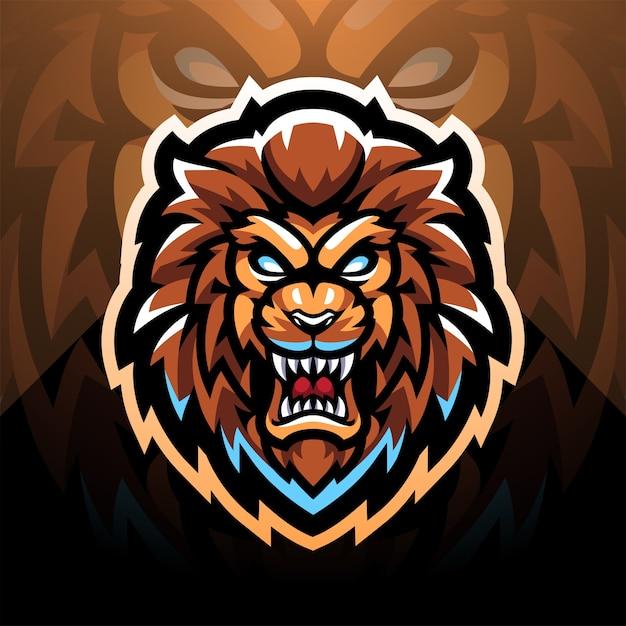 Diseño de logotipo de mascota de esport de cabeza de león
