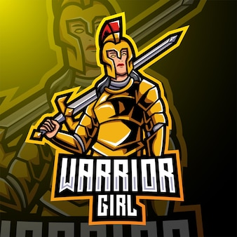 Diseño de logotipo de mascota de esport de chica guerrera