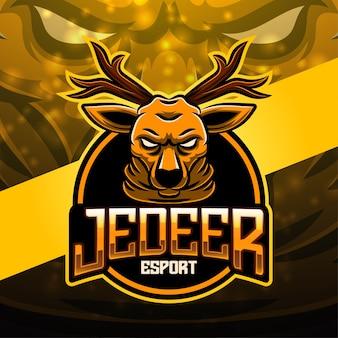 Diseño de logotipo de mascota de esport de ciervos
