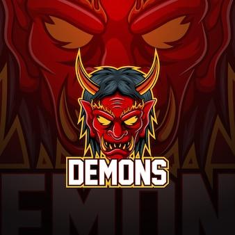 Diseño de logotipo de mascota esport demonios