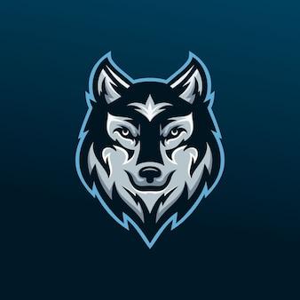 Diseño de logotipo de mascota de esport lobo salvaje
