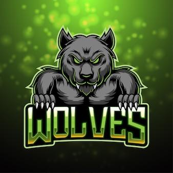 Diseño de logotipo de mascota de esport de lobos