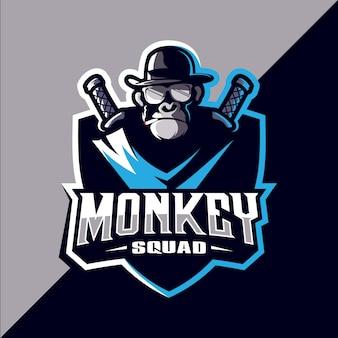 Diseño de logotipo de la mascota de esport mono