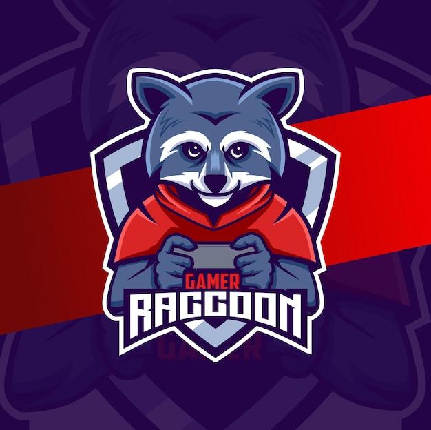 Diseño de logotipo de mascota de esport de personaje de jugador de mapache