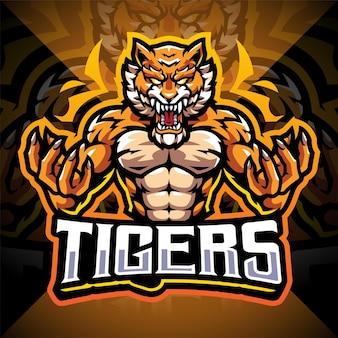 Diseño de logotipo de mascota de esport de tigres