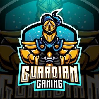 Diseño de logotipo de mascota de esports de guardian gaming