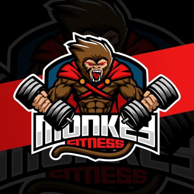 Diseño de logotipo de mascota de fitness mono