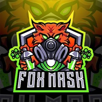 Diseño de logotipo de mascota fox mask esport