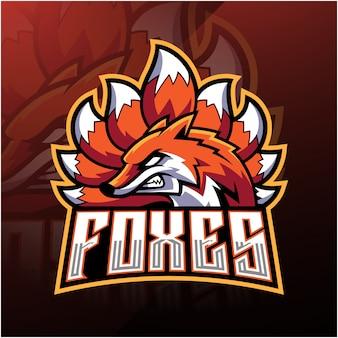 Diseño de logotipo de la mascota de foxes esport