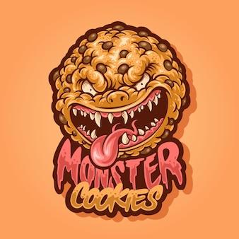 Diseño de logotipo de mascota de galletas moster