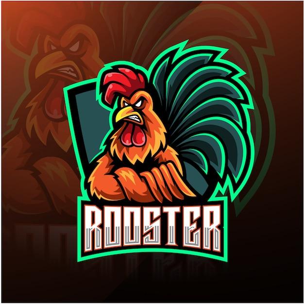 Diseño de logotipo de mascota de gallo esport