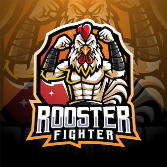 Diseño de logotipo de mascota de gallo fighter esport