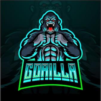 Diseño de logotipo de mascota de gorila esport