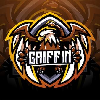 Diseño de logotipo de mascota griffin esport