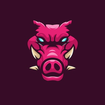 Diseño de logotipo de mascota hog con estilo de concepto de ilustración moderno para impresión de insignias, emblemas y camisetas. jabalí de cuatro cuernos