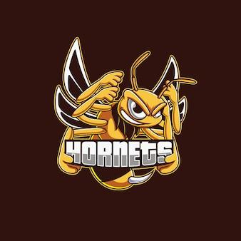 Diseño de logotipo de la mascota hornets esport