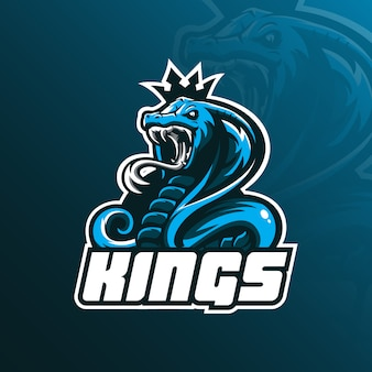 Diseño de logotipo de la mascota de king cobra con estilo de concepto de ilustración moderna para insignia, emblema