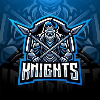 Diseño de logotipo de mascota knight esport