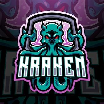 Diseño de logotipo de mascota kraken octopus esport