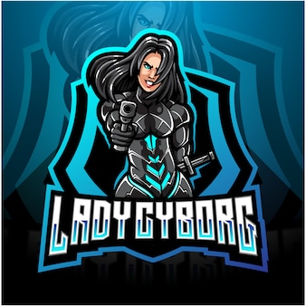 Diseño de logotipo de la mascota de lady cyborg esport