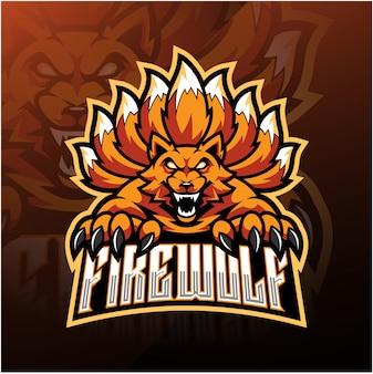 Diseño de logotipo de mascota de lobo de fuego esport
