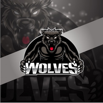Diseño de logotipo de mascota de lobos esport