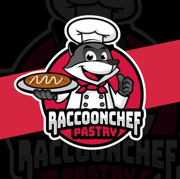 Diseño de logotipo de mascota de mapache chef