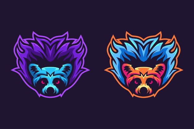 Diseño de logotipo de mascota de mapache fuego