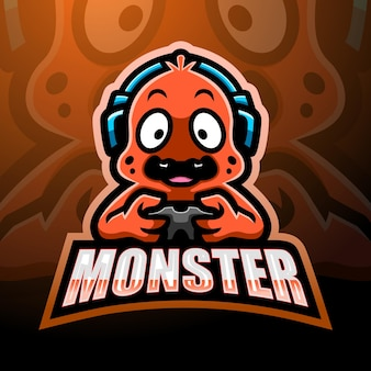 Diseño de logotipo de mascota monstruo lindo