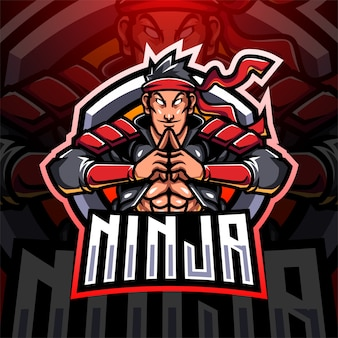 Diseño de logotipo de mascota ninja esport