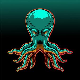 Diseño del logotipo de la mascota octopus esport
