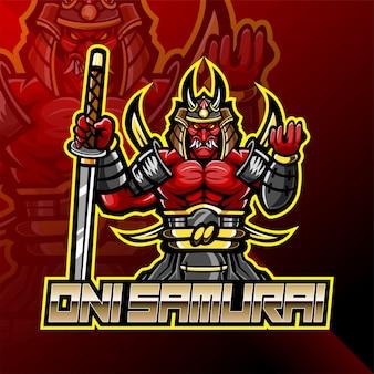 Diseño de logotipo de mascota de oni samurai warrior esport